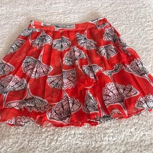 Francesca's Red-Orange Flounce Skirt